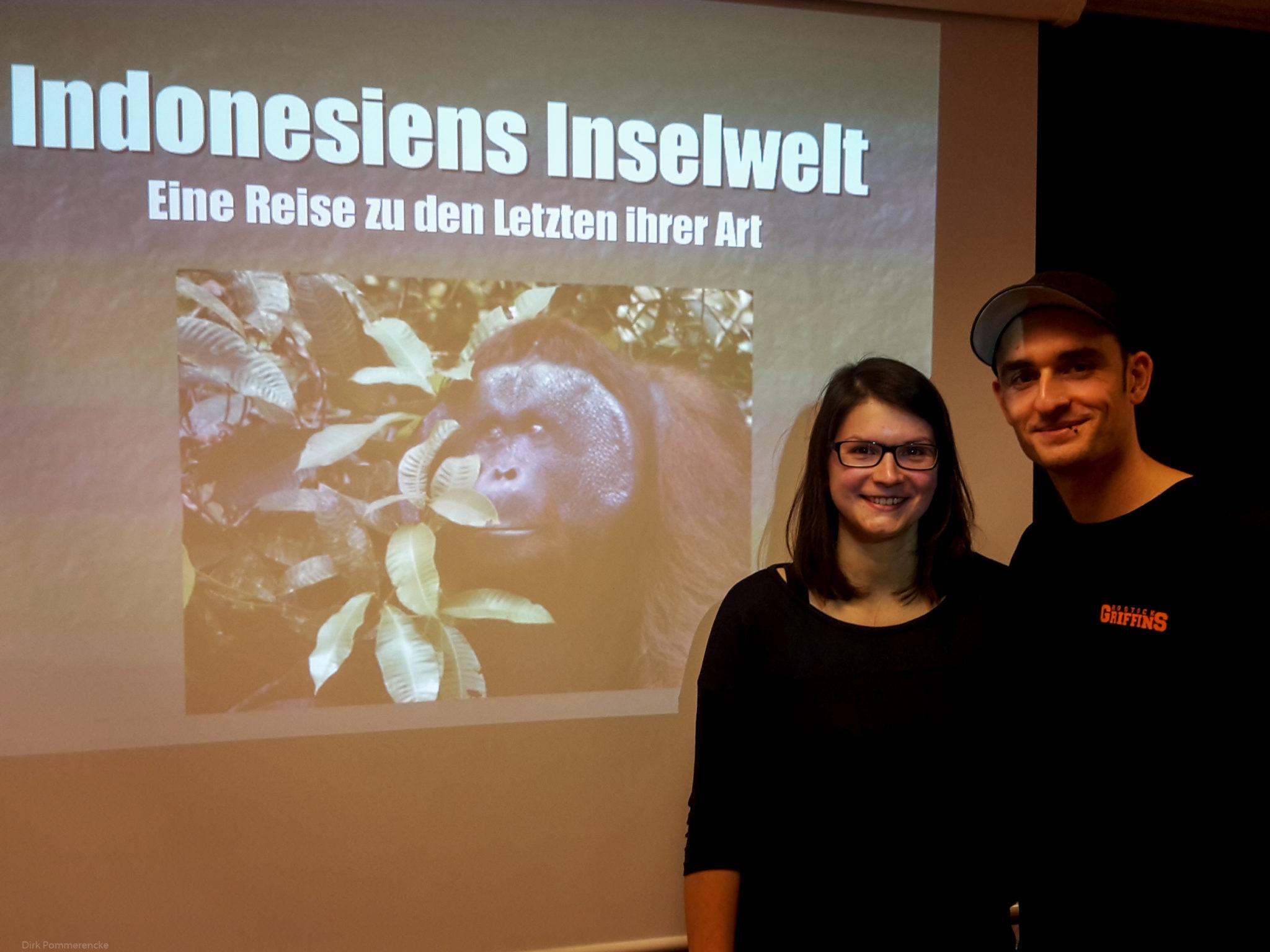 Anja Wrzesinski (Marketing, Wildpark-MV) und Tobis Pollmer (Tierpfleger, DARWINEUM Zoo Rostock)
