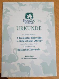 Patenschaftsrurkunde NaturZoo Rheine